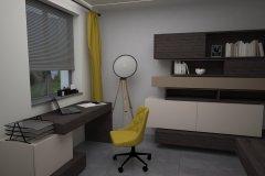 007. domowe biuro tapeta zygzak szary wenge bez musztardowy home office zigzag wallpaper grey wenge mustard