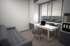 011. domowe biuro, drewno, bialy, szary, polysk, mat, home office, wood, white, grey, gloss, matt