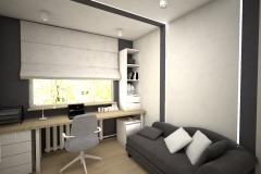 012. domowe biuro garfitowo białe home office dark grey white