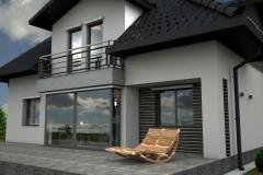 008. elewacja szara grafit beton czarna dachowka