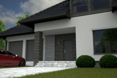 009. elewacja szara grafit beton czarna dachowka