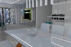 0021. Biała kuchnia z kolorowym akcentem