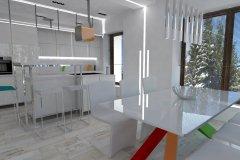 0022. Biała kuchnia z kolorowym akcentem