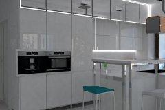 0023. Biała kuchnia z kolorowym akcentem
