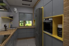 0028. Kuchnia industrialna szara drewno i żółty Kitchen industrial grey wood and yellow