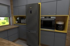 0030. Kuchnia industrialna szara drewno i żółty Kitchen industrial grey wood and yellow