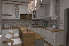 0033. Kuchnia prowansalska biała drewno white wood Provencal kitchen
