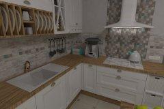 0034. Kuchnia prowansalska biała drewno white wood Provencal kitchen