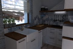 0051. kuchnia biala z hexagonami drewniany blat niebieski akcent kitchen white hexagon wood blue accent