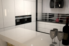 0053. kuchnia biala czarna polysk nowoczesna modern kitchen white and black hight gloss