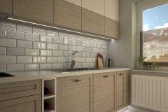 0054. kuchnia drewniana frezowane fronty biale plytki wysoki polysk bez kitchen wood white tiles white front hight gloss