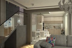 0055. kuchnia drewniana frezowane fronty biale plytki wysoki polysk bez kitchen wood white tiles white front hight gloss
