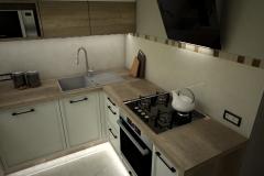 0057. kuchnia ecru drewniana lacobel mozaika kitchen ecru wood mosaic old style