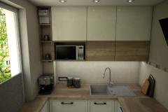 0058. kuchnia ecru drewniana lacobel mozaika kitchen ecru wood mosaic old style