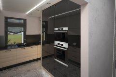 0063. kuchnia nowoczesna czarny wysoki połysk drewno ecru blat konglomeratowy kitchen modern black gloss wood