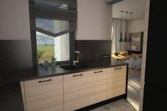 0064. kuchnia nowoczesna czarny wysoki połysk drewno ecru blat konglomeratowy kitchen modern black gloss wood
