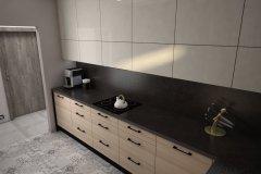 0065. kuchnia nowoczesna czarny wysoki połysk drewno ecru blat konglomeratowy kitchen modern black gloss wood