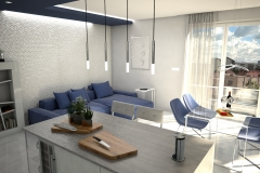 110. kuchnia z jadalnia biala szara z wyspa kitchen with dining room white grey with island