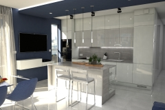 112. kuchnia z jadalnia biala szara z wyspa kitchen with dining room white grey with island