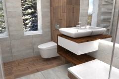 0024. łazienka szara z drewnem
