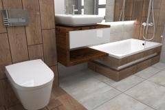 0025. łazienka szara z drewnem