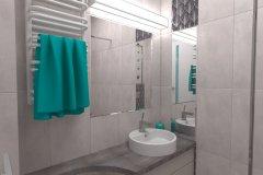 0028. Szara mała łazienka ceramika Pilch