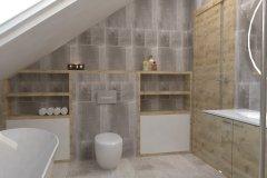 0034. łazienka szare płytki z drewnem
