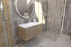 0035. łazienka szare płytki z drewnem umywalka nablatowa