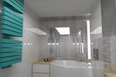0042. Biała łazienka z drewnem i turkusowym akcentem