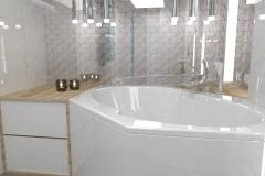 0043. Biała łazienka z drewnem i turkusowym akcentem