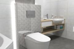 0044. Biała łazienka z drewnem i turkusowym akcentem