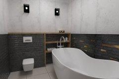 0064. łazienka szaro czarna ze słotym akcentem a la loft bathroom