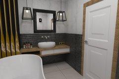0065. łazienka szaro czarna ze słotym akcentem a la loft bathroom
