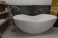 0066. łazienka szaro czarna ze słotym akcentem a la loft bathroom