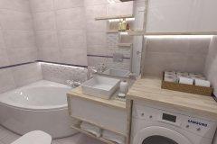 0070. łazienka szara z naturalnym drewnem bathroom grey and wood natural