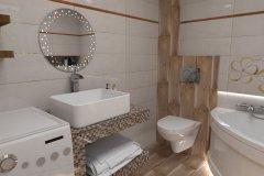 0079. łazienka kremowo brązowa z mozaiką bathroom cream and brown