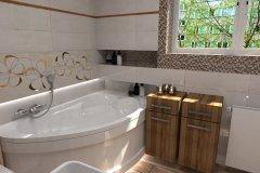 0080. łazienka kremowo brązowa z mozaiką bathroom cream and brown