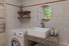 0081. łazienka kremowo brązowa z mozaiką bathroom cream and brown