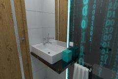 0083. toaleta cyber przestrzen, matrix biały, czarny, turkus, white, black