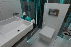 0084. toaleta cyber przestrzen, matrix biały, czarny, turkus, white, black