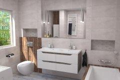 0091. jasna łazienka z drewnem, bathroom wood