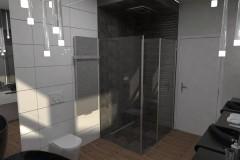 0098. lazienka w szarościach i bielach z czarna armatura bathroom grey and white with black sink