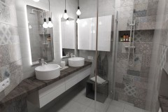 0102. lazienka beton hexagon loft, bathroom concrete