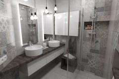 0102. lazienka beton hexagon loft, bathroom concrete
