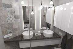 0103. lazienka beton hexagon loft, bathroom concrete