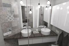 0103. lazienka beton hexagon loft, bathroom concrete