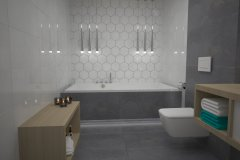 0104. lazienka szaro biala beton hexagon, bathroom grey white concrete