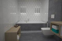 0104. lazienka szaro biala beton hexagon, bathroom grey white concrete