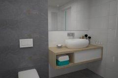 0105. lazienka szaro biala beton hexagon, bathroom grey white concrete