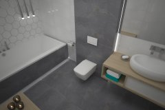 0106. lazienka szaro biala beton hexagon, bathroom grey white concrete